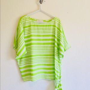 Michael Kors Neon Green Waist Tie Top